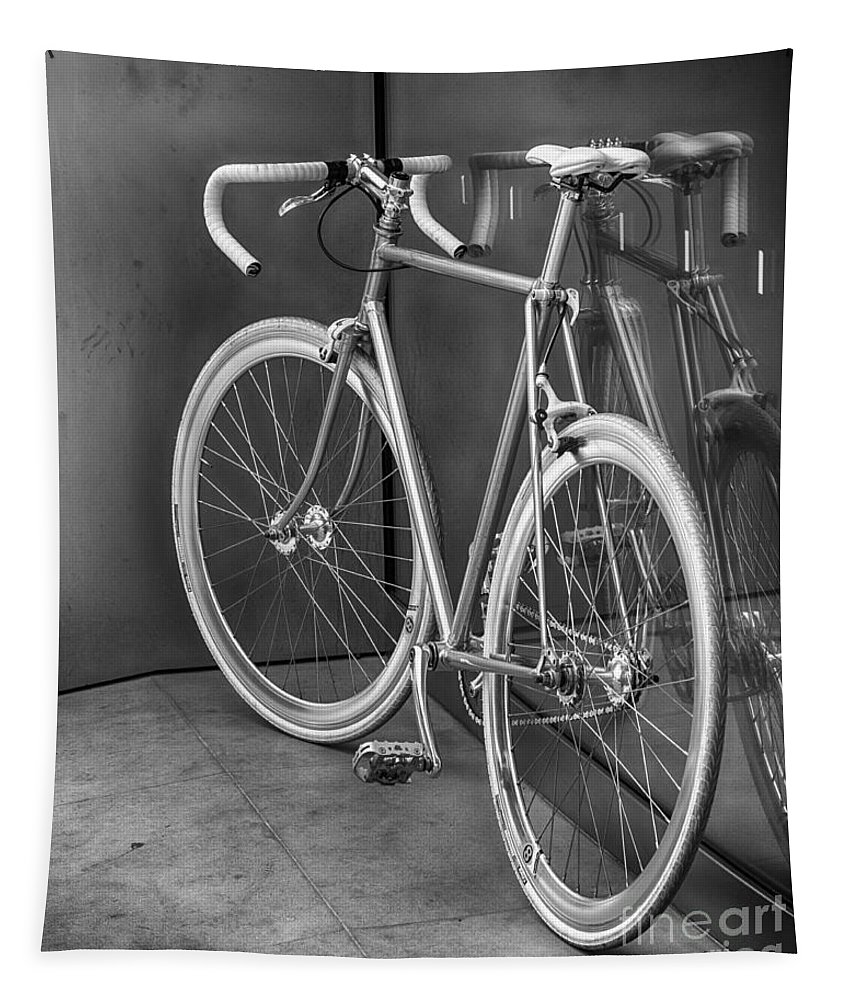 2014 Tapestry featuring the photograph Silver Bike Bw by Jerry Fornarotto