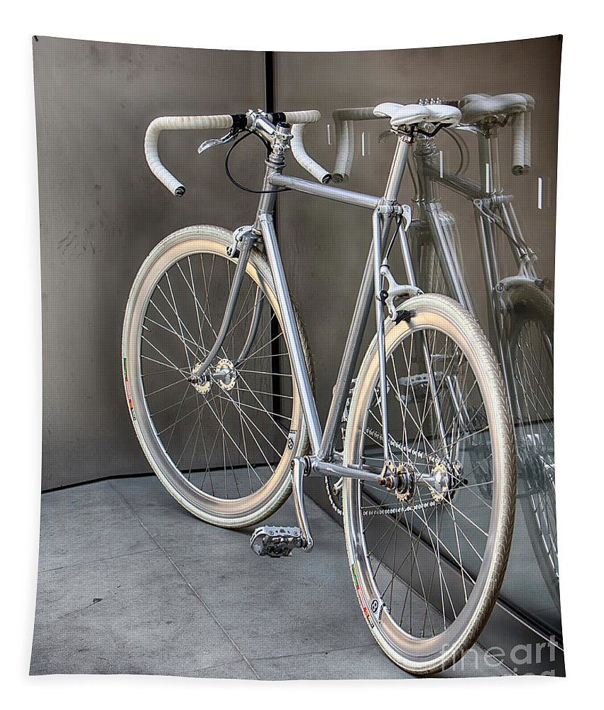 Bicycle Tapestry featuring the photograph Silver Bike by Jerry Fornarotto