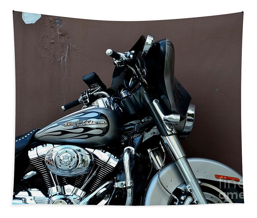 Harley Davidson Tapestry featuring the photograph Silver Harley Motorcycle by Imran Ahmed