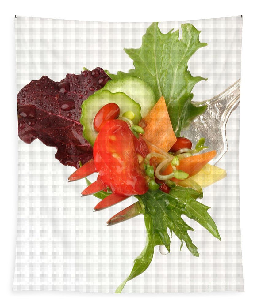 Salad Tapestry featuring the photograph Silver Salad Fork by Iris Richardson