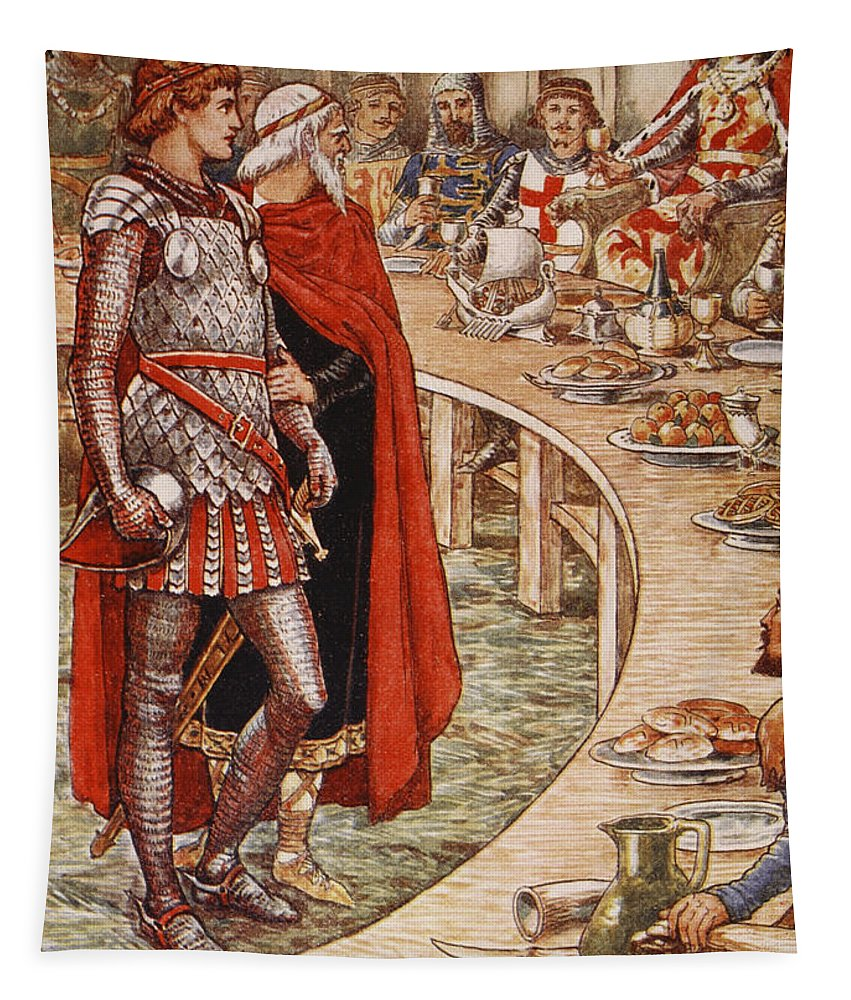 Walter Tapestry featuring the painting Sir Galahad Is Brought To The Court Of King Arthur by Walter Crane