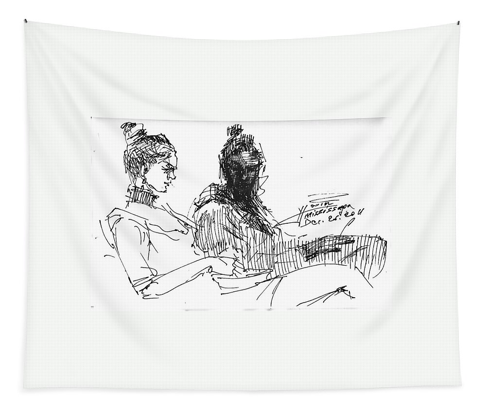 Sisters Tapestry featuring the drawing Sisters by Ylli Haruni