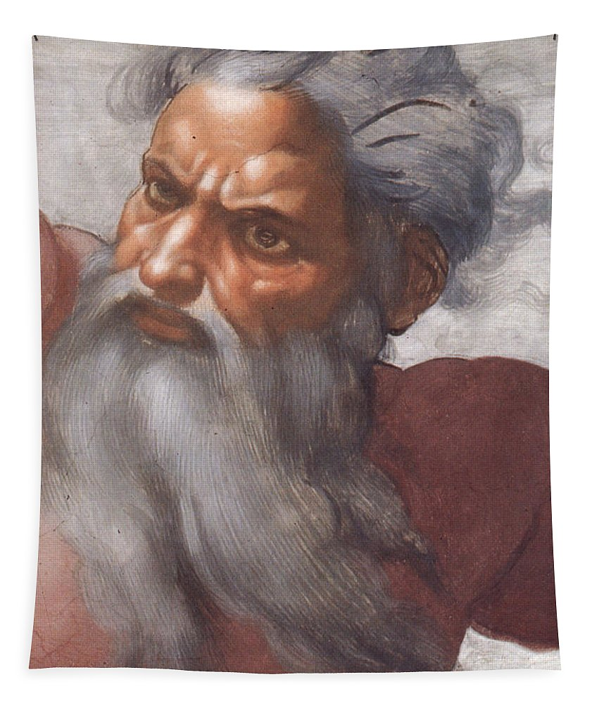 Renaissance; High; Old Testament; Genesis; God The Father; Skies; Sky; Father; Creator; Beard; Bearded; Close-up; Grey; Old; Angry; Male; Sistine Tapestry featuring the painting Sistine Chapel Ceiling Creation Of The Sun And Moon by Michelangelo Buonarroti