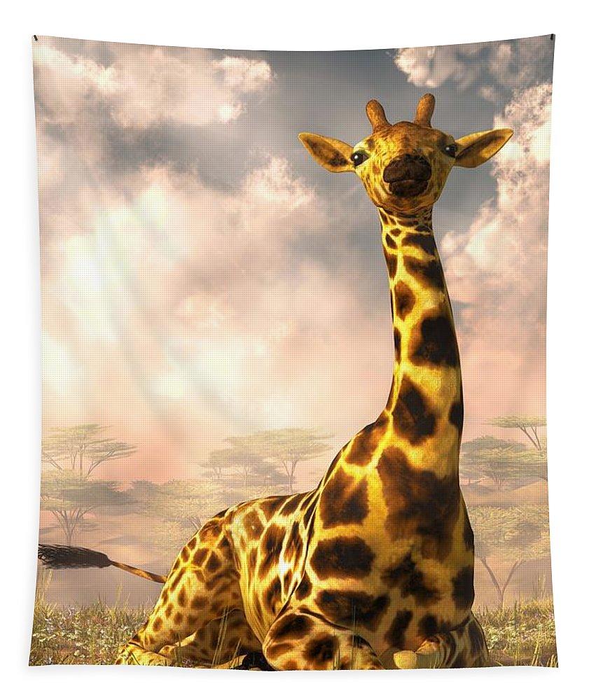 Sitting Giraffe Tapestry featuring the digital art Sitting Giraffe by Daniel Eskridge