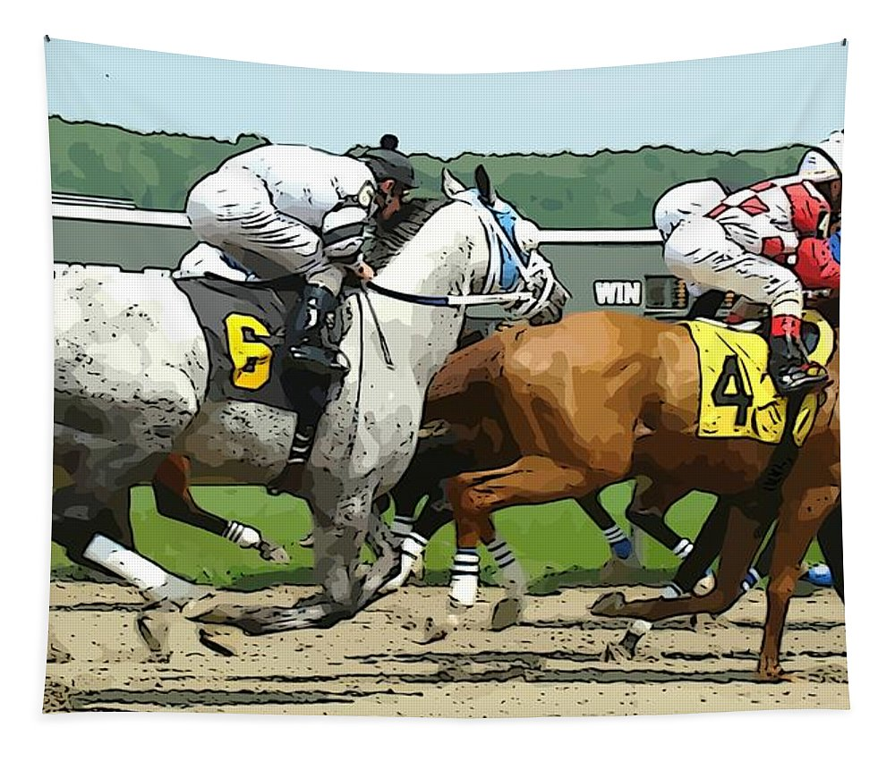 Horse Race Track Racing Jckeys Tapestry featuring the photograph Six And Four by Alice Gipson