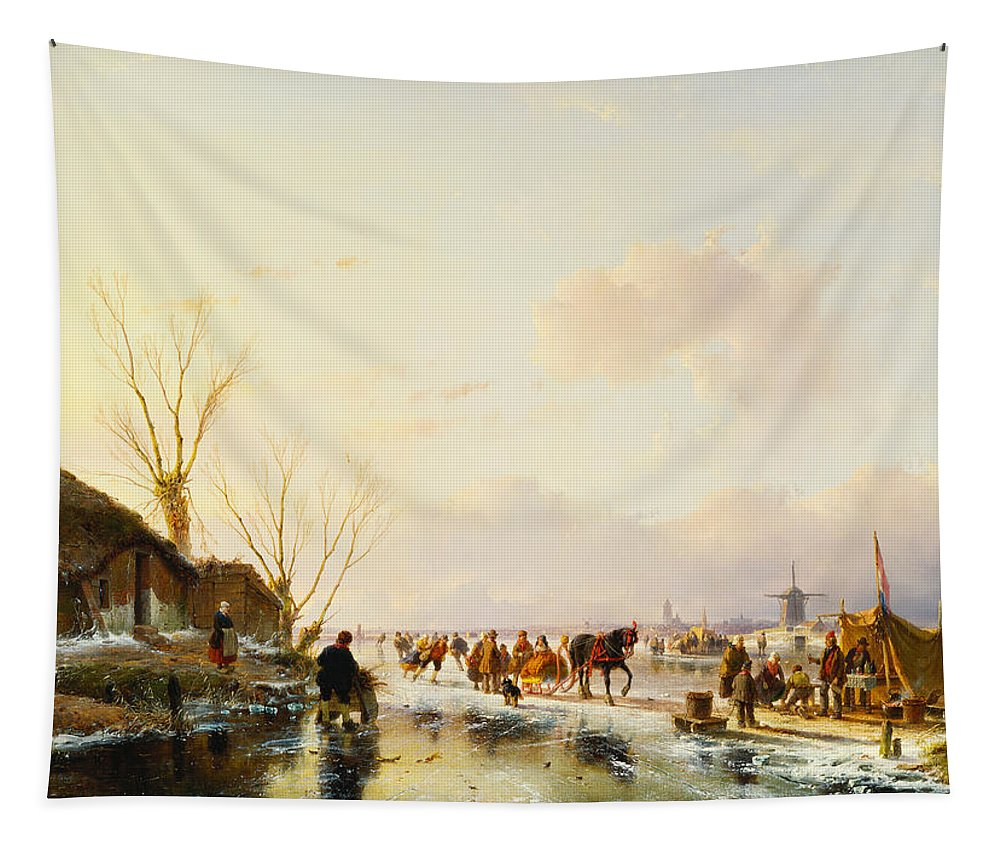 Sledge Tapestry featuring the painting Skaters By A Booth On A Frozen River by Andreas Schelfhout