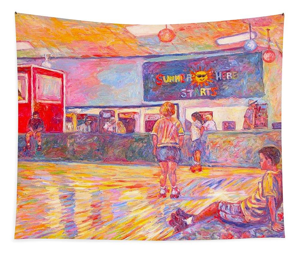 Skaters Tapestry featuring the painting Skating Break by Kendall Kessler