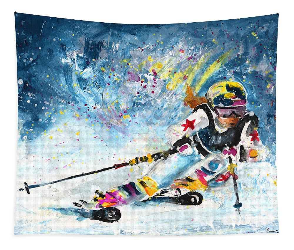 Sports Tapestry featuring the painting Skiing 03 by Miki De Goodaboom