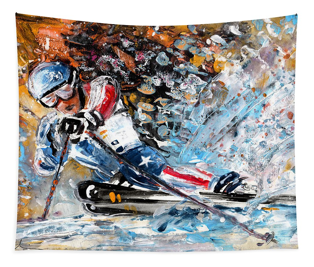 Sports Tapestry featuring the painting Skiing 04 by Miki De Goodaboom