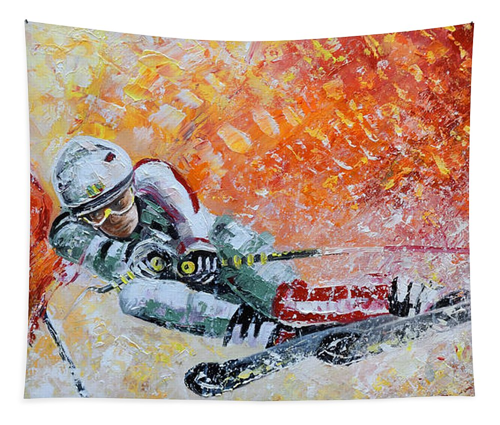 Sports Tapestry featuring the painting Skiing 07 by Miki De Goodaboom