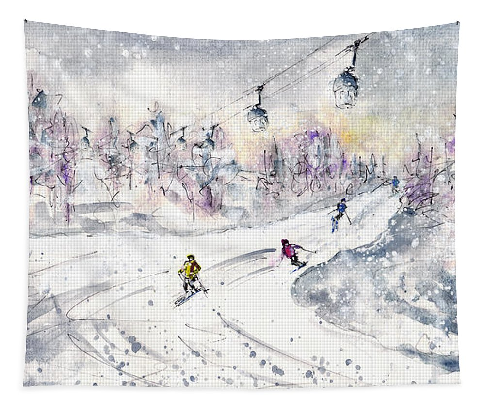Travel Tapestry featuring the painting Skiing In The Dolomites In Italy 01 by Miki De Goodaboom