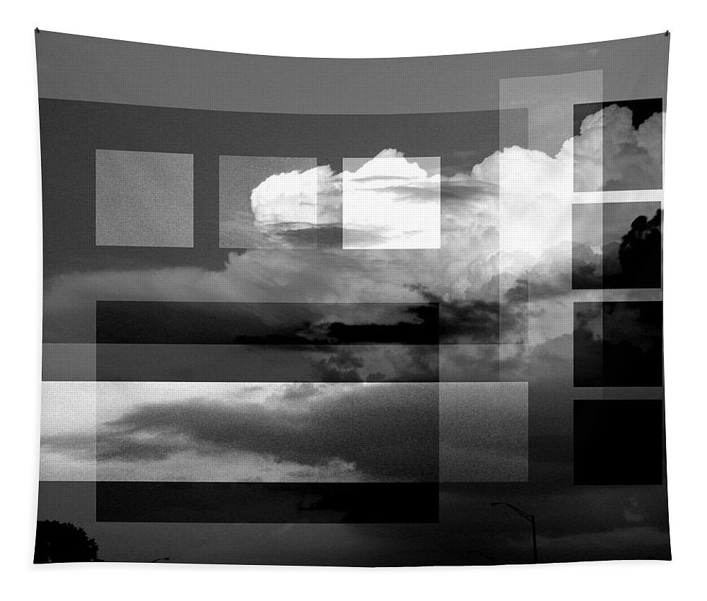 Black And White Abstract Photography Tapestry featuring the photograph Sky collage BW by Steve Karol
