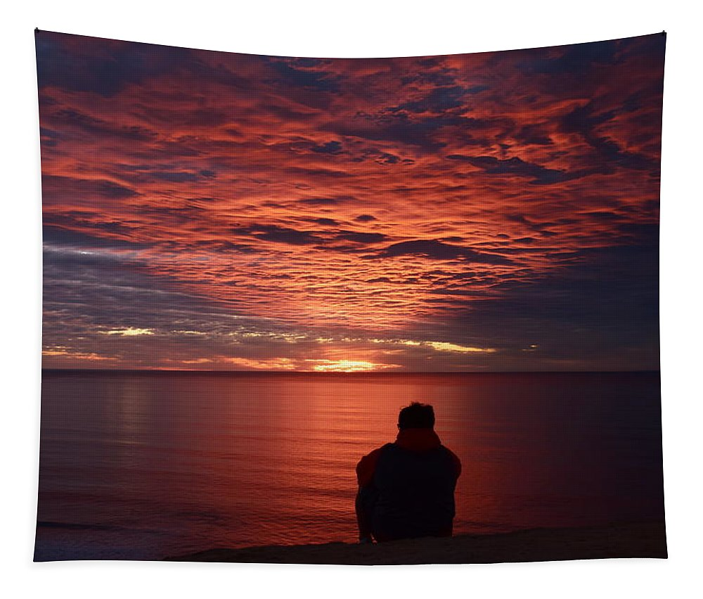 Sky On Fire Tapestry featuring the photograph Sky On Fire by Eric Johansen