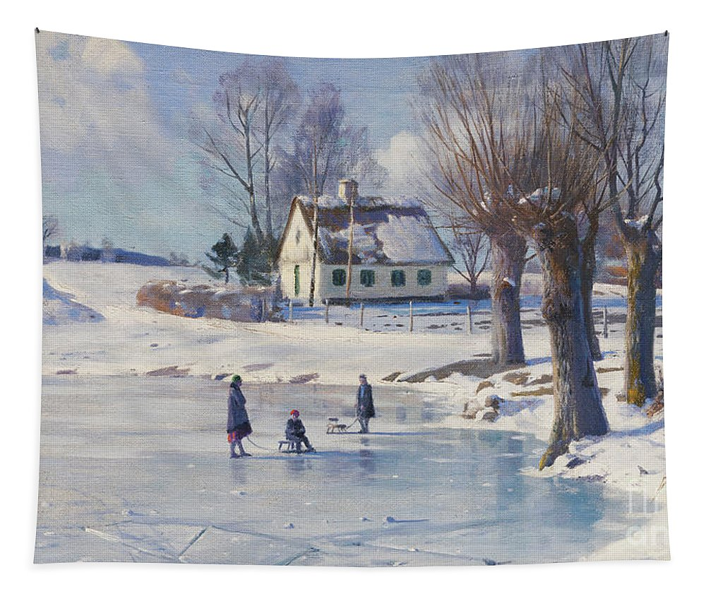 Danish Tapestry featuring the painting Sledging On A Frozen Pond by Peder Monsted