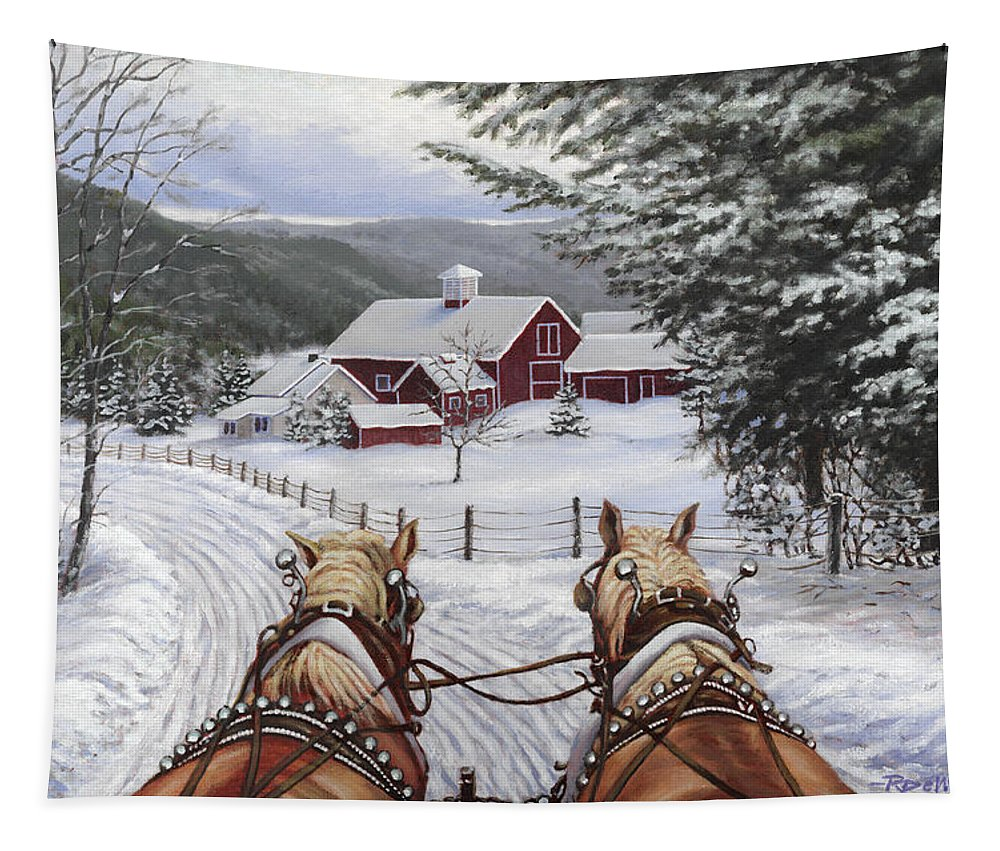 Horses Tapestry featuring the painting Sleigh Bells by Richard De Wolfe