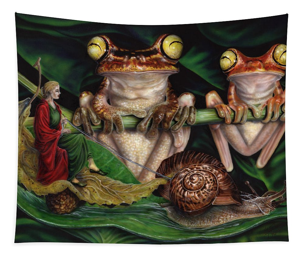 North Dakota Artist Tapestry featuring the painting Slick Ride by Wayne Pruse