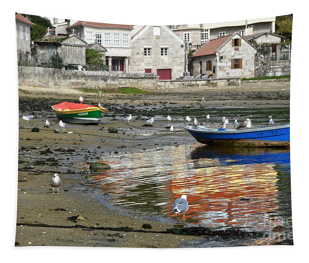Boat Tapestry featuring the photograph Small Boats And Seagulls In Galicia by RicardMN Photography