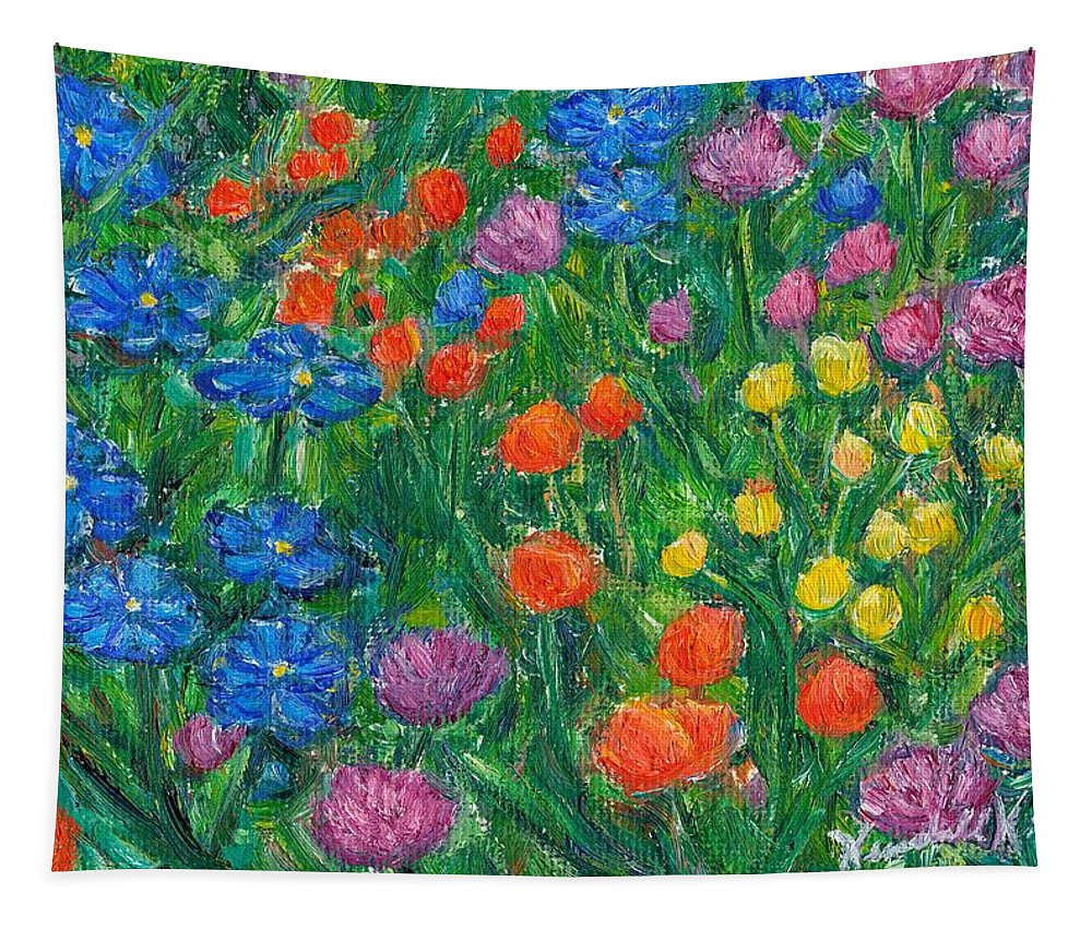 Wildflowers Tapestry featuring the painting Small Flowers by Kendall Kessler