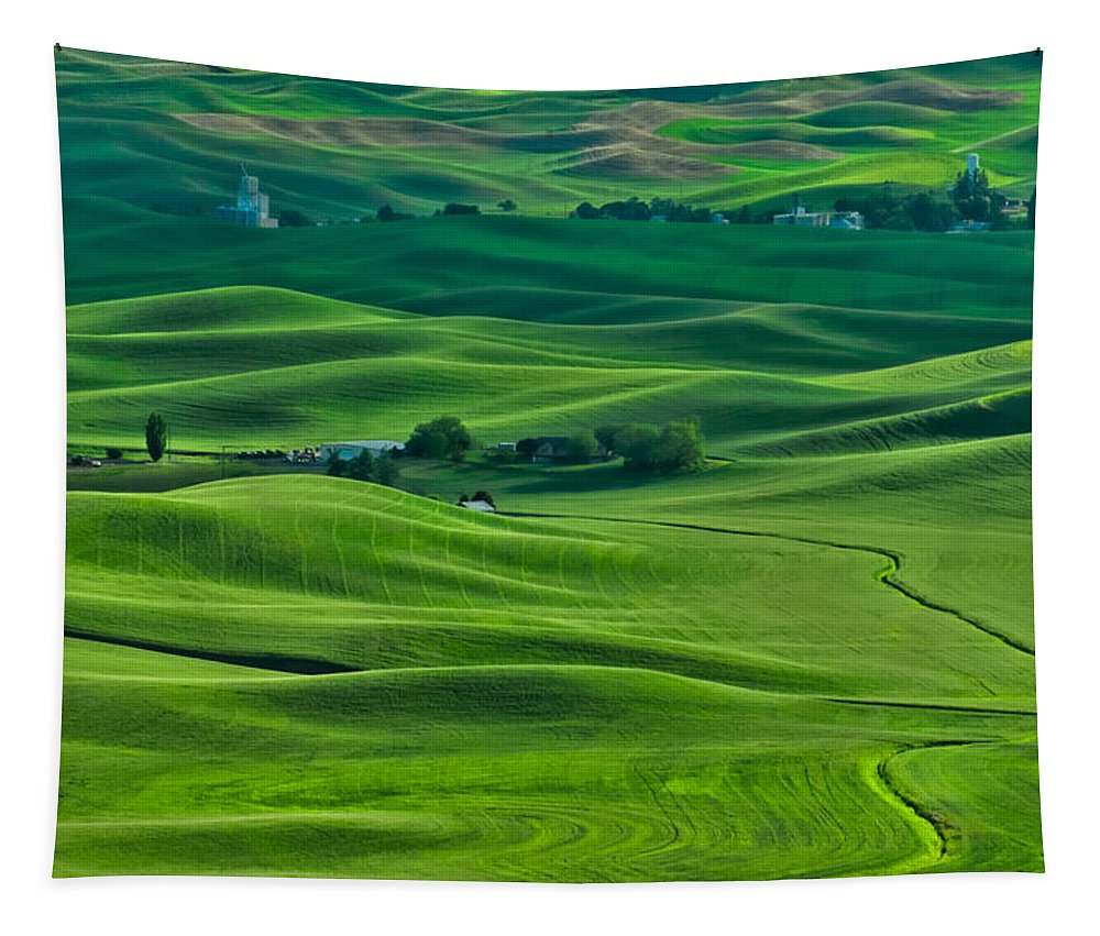Farmhouse Tapestry featuring the photograph Small Town In The Lush Green Hills by Don Schwartz