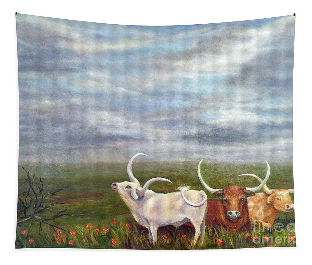Stormy Sky Tapestry featuring the painting Smelling The Rain by Alina Martinez-beatriz
