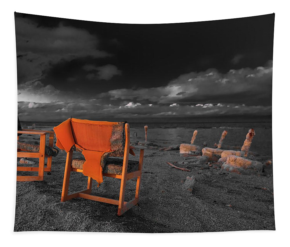 Beach Tapestry featuring the photograph Smoke Break In The Ruins Black And White by Scott Campbell
