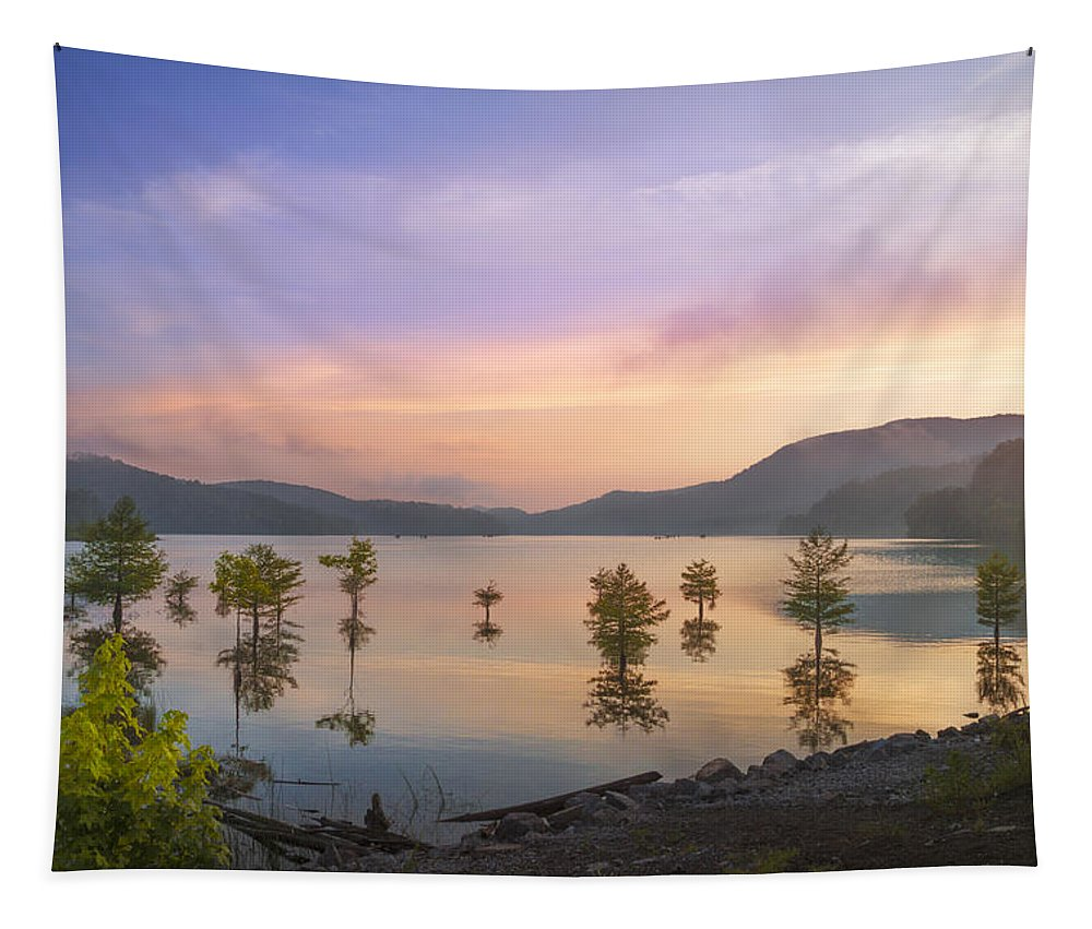 Appalachia Tapestry featuring the photograph Smoky Sunset by Debra and Dave Vanderlaan