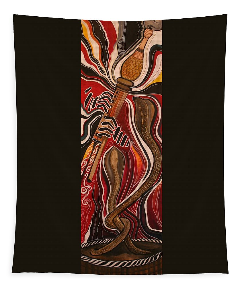 Snake Tapestry featuring the painting Snake Charmer by Kate Fortin