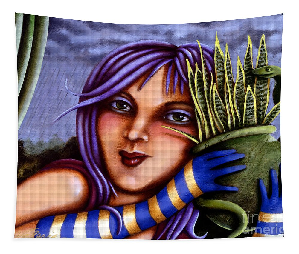 Fantasy Tapestry featuring the painting Snake Snakeplant by Valerie White