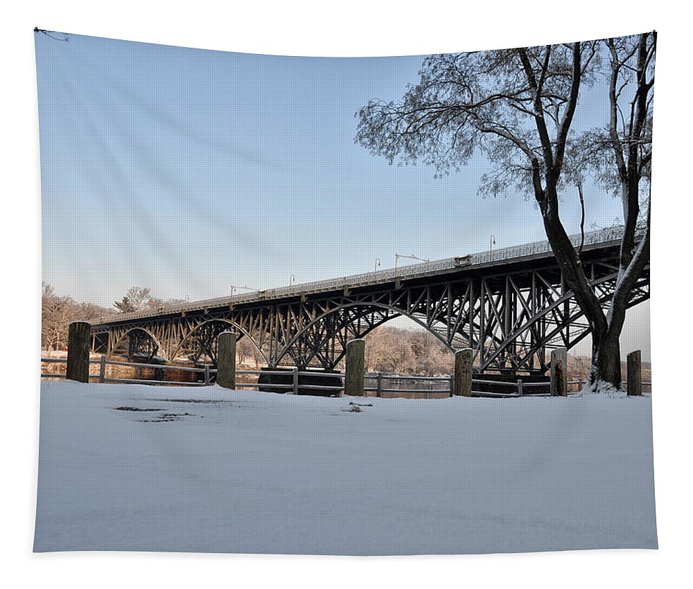 Snow Along Kelly Drive Tapestry featuring the photograph Snow Along Kelly Drive by Bill Cannon