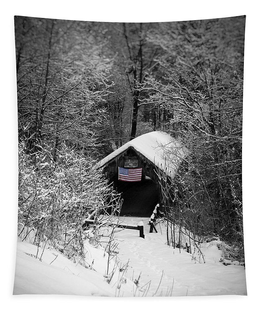 New England Tapestry featuring the photograph Snow Covered Covered Bridge by Edward Fielding