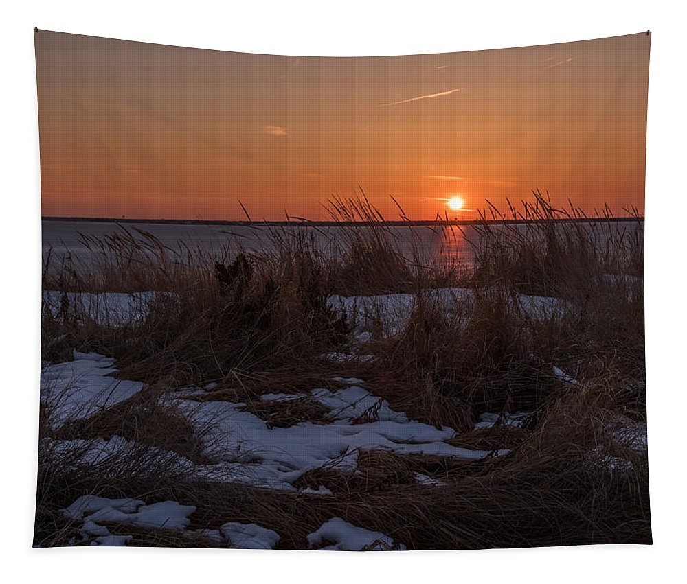 Terry Deluco Tapestry featuring the photograph Snow Dune Sunset Seaside Park Nj by Terry DeLuco