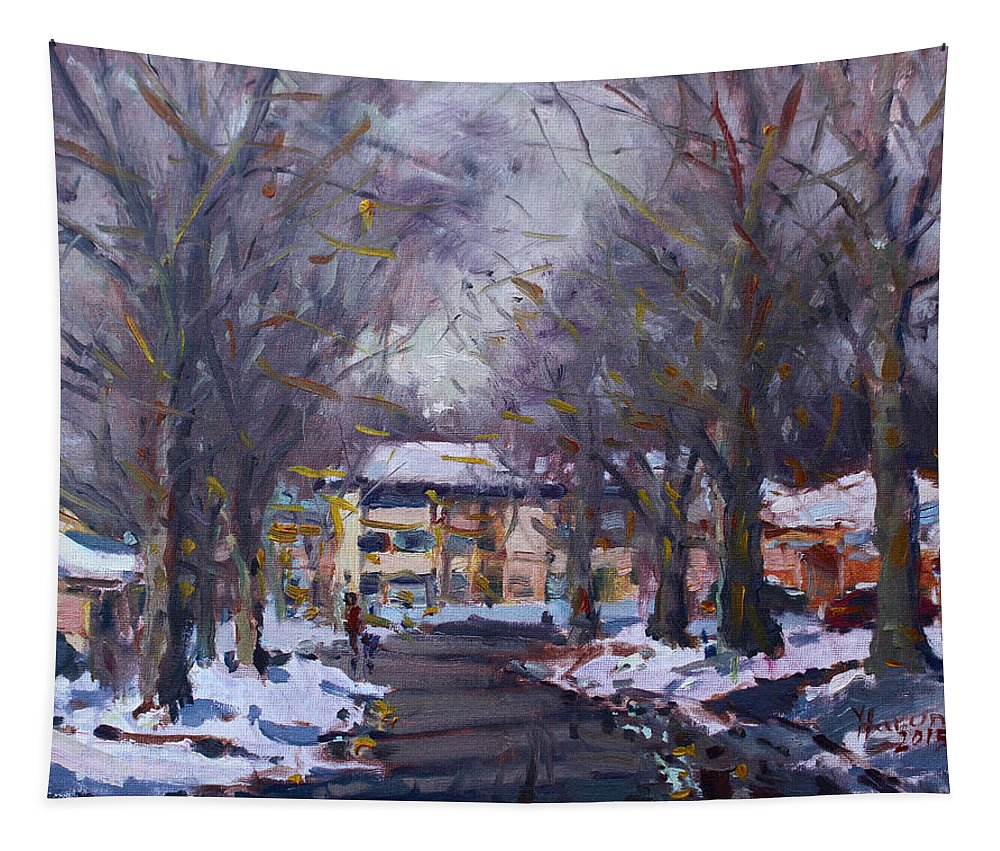 Snow Tapestry featuring the painting Snow In Silverado Dr by Ylli Haruni