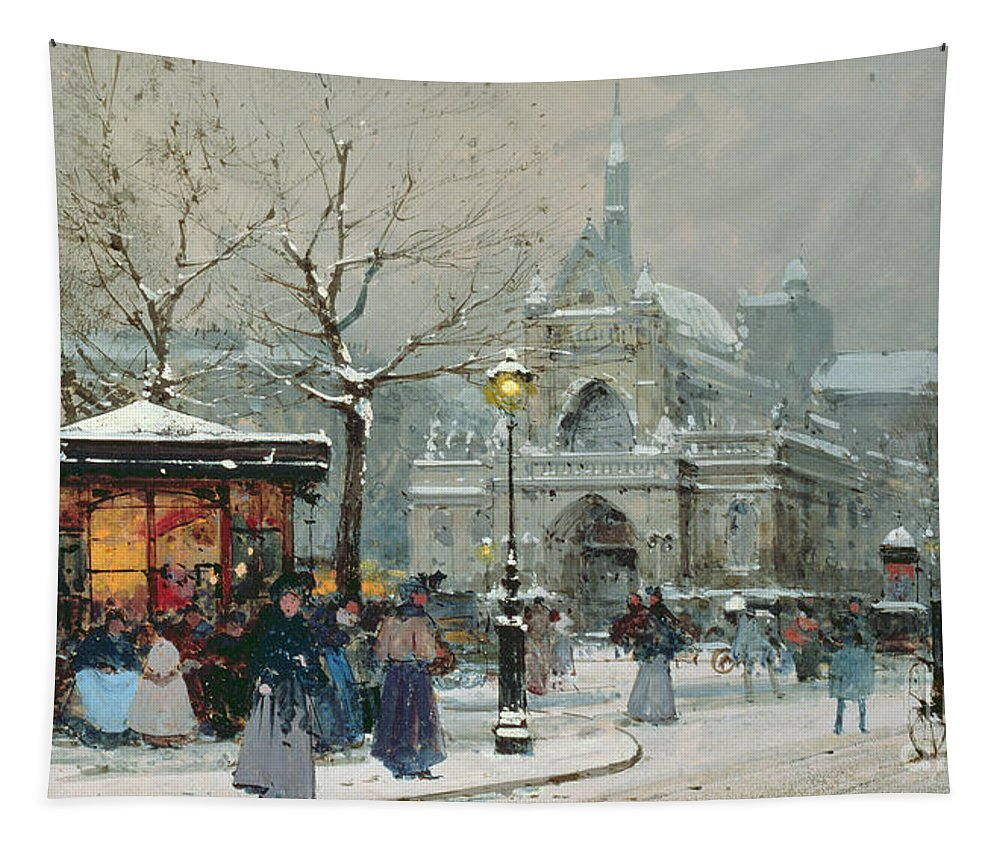 Gas Light Tapestry featuring the painting Snow Scene In Paris by Eugene Galien-Laloue