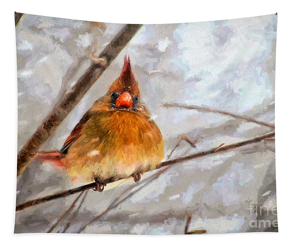 Bird Tapestry featuring the digital art Snow Surprise - Painterly by Lois Bryan
