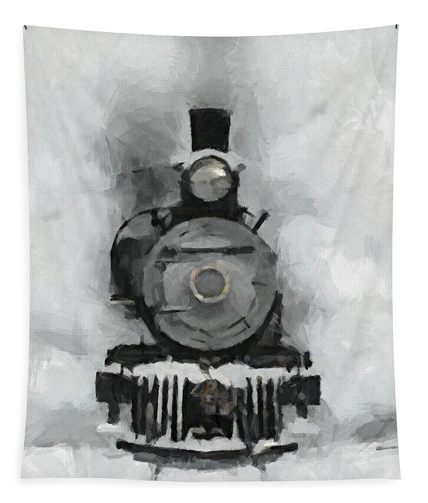 Landscape Tapestry featuring the painting Snow Train by Dragica Micki Fortuna