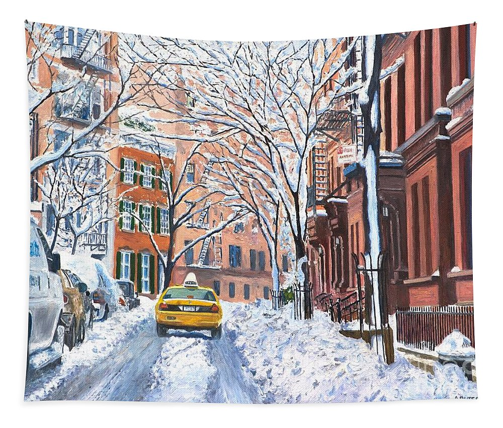 Snow Tapestry featuring the painting Snow West Village New York City by Anthony Butera