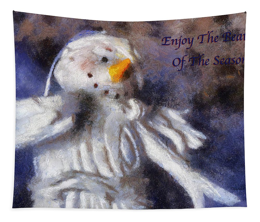 Snow Woman Tapestry featuring the photograph Snow Woman Enjoy The Beauty Photo Art by Thomas Woolworth