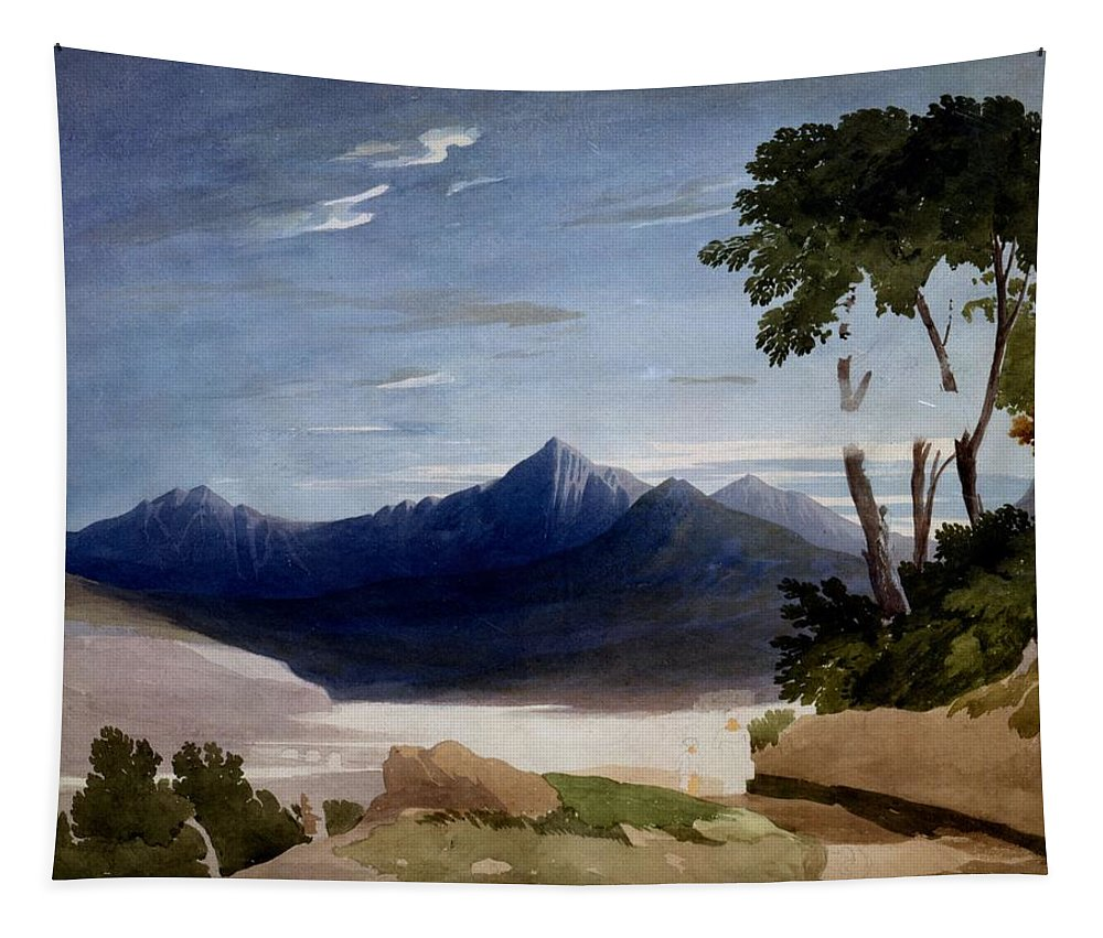 Snowdon Tapestry featuring the drawing Snowdon by John Varley
