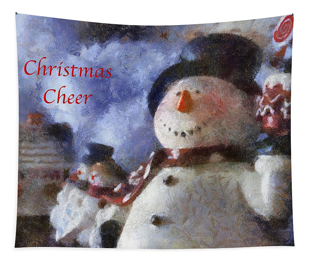 Winter Tapestry featuring the photograph Snowman Christmas Cheer Photo Art 03 by Thomas Woolworth