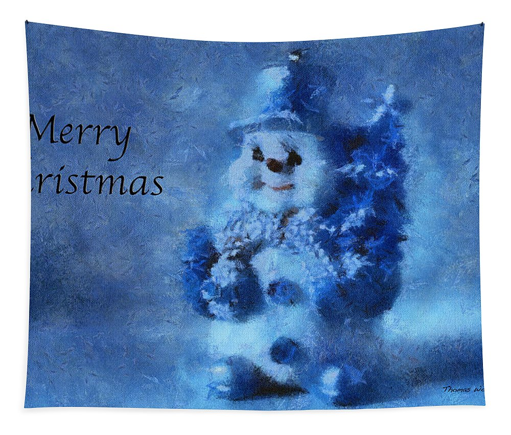 Winter Tapestry featuring the photograph Snowman Merry Christmas Photo Art 01 by Thomas Woolworth