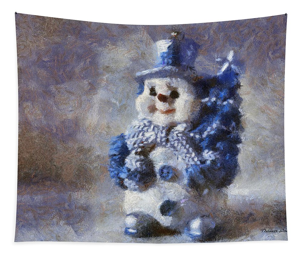 Winter Tapestry featuring the photograph Snowman Photo Art 02 by Thomas Woolworth