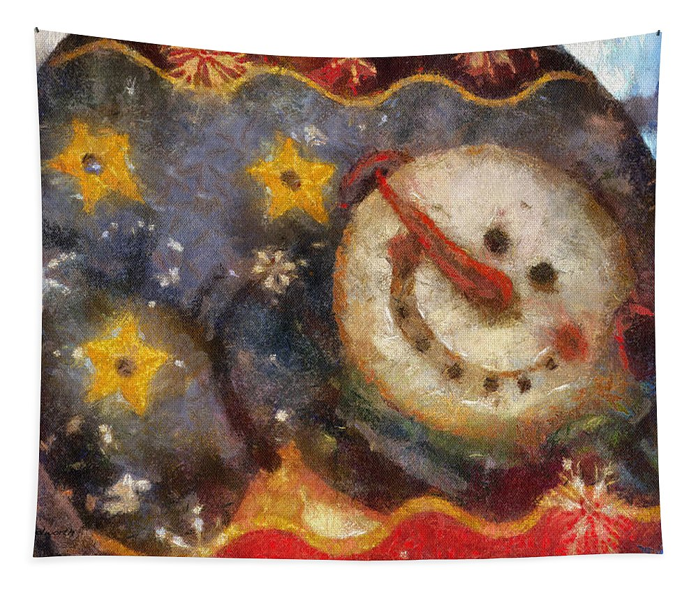 Winter Tapestry featuring the photograph Snowman Photo Art 07 by Thomas Woolworth