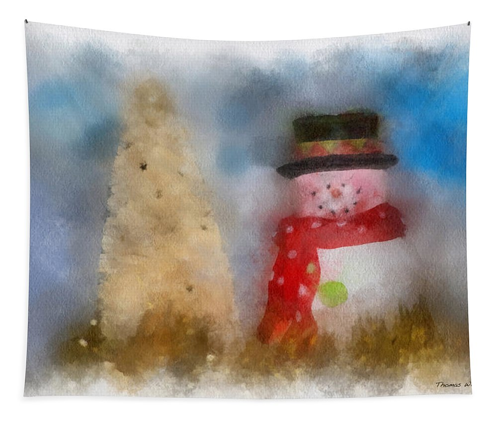 Winter Tapestry featuring the photograph Snowman Photo Art 13 by Thomas Woolworth