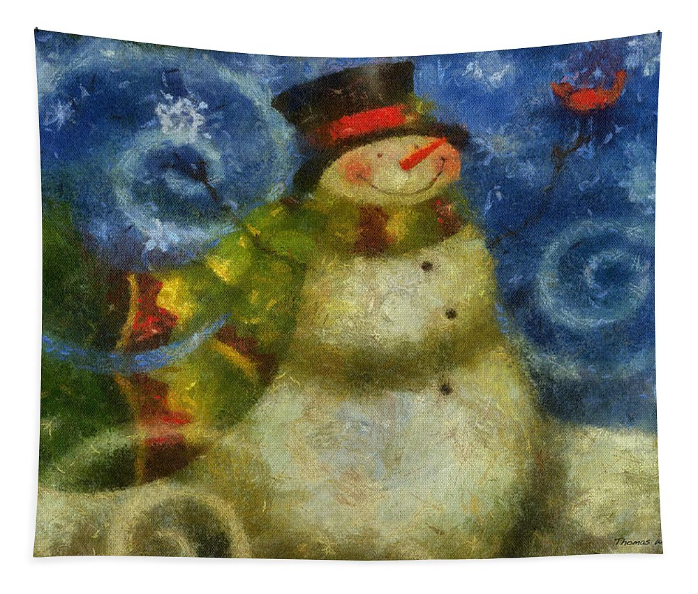 Winter Tapestry featuring the photograph Snowman Photo Art 15 by Thomas Woolworth