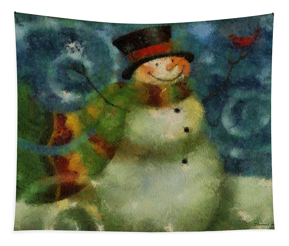 Winter Tapestry featuring the photograph Snowman Photo Art 16 by Thomas Woolworth