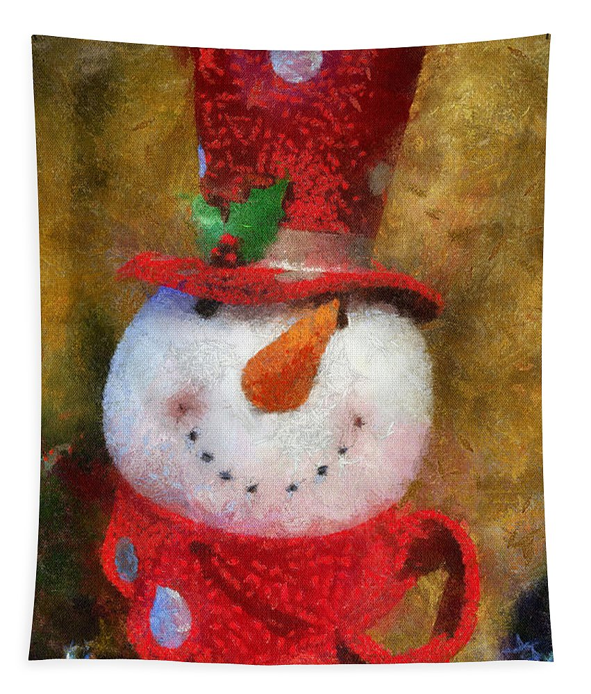 Winter Tapestry featuring the photograph Snowman Photo Art 19 by Thomas Woolworth