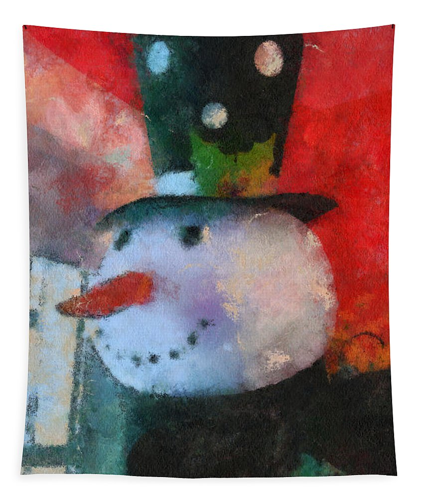 Winter Tapestry featuring the photograph Snowman Photo Art 20 by Thomas Woolworth