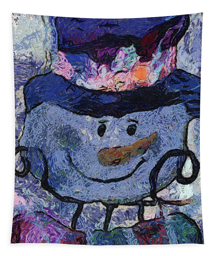 Winter Tapestry featuring the photograph Snowman Photo Art 35 by Thomas Woolworth