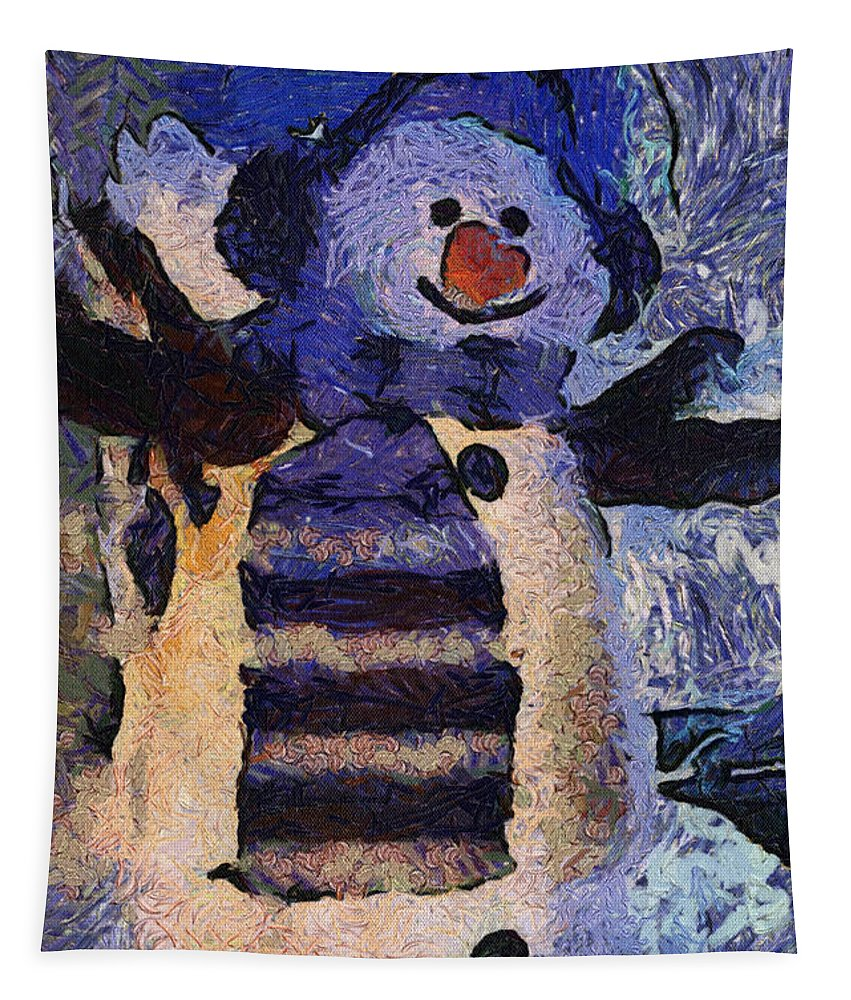 Winter Tapestry featuring the photograph Snowman Photo Art 44 by Thomas Woolworth
