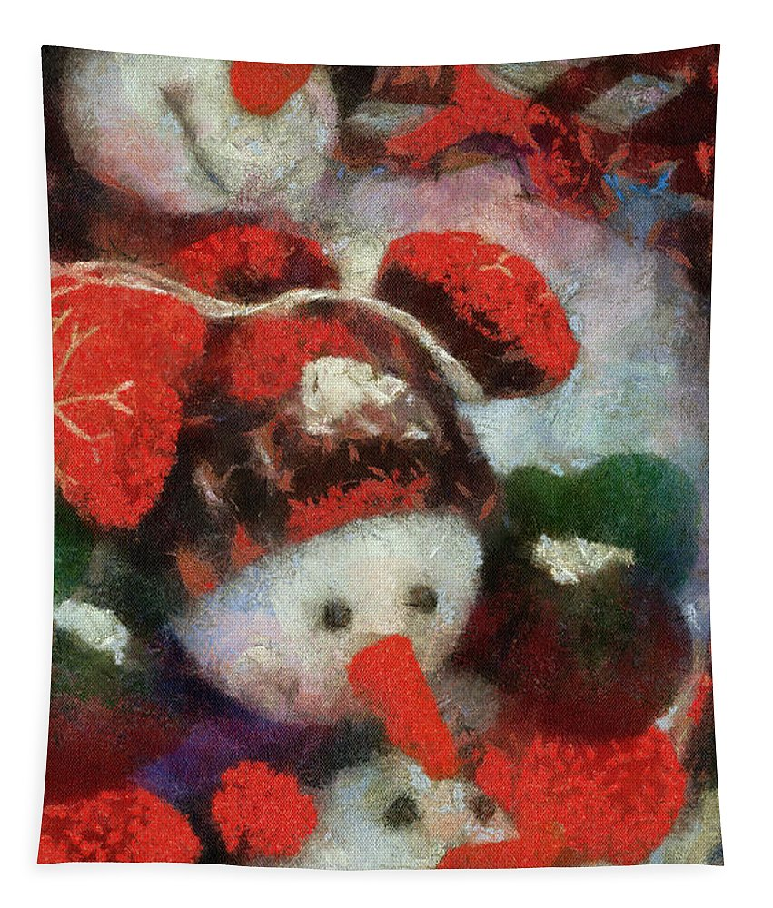Winter Tapestry featuring the photograph Snowman Photo Art 45 by Thomas Woolworth